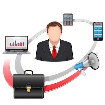 Vektor-multi-manager-konzept isoliert auf weißem hintergrund