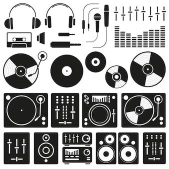 Vektor-musik-ikonen des dj-personals und irgendein ausrüstungssatzes