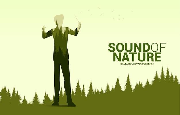 Vektor-musik-orchester-dirigent mit grünem wald. hintergrundkonzept für musik für natur- und frühlingszeit.