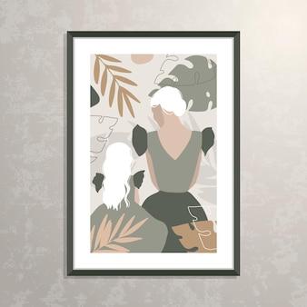 Vektor mutter und tochter silhouette illustration Premium Vektoren