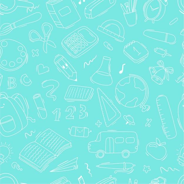 Vektor nahtlose doodle-muster schule und schulbedarf, schreibwaren, bücher, rucksäcke, schulbus. hintergrunddekoration