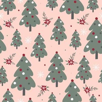 Vektor nahtlose hintergrund mit grünen bäumen weihnachtsmuster