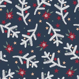 Vektor nahtlose hintergrund mit tannenzweigen und weihnachtsstern blumen weihnachtsmuster