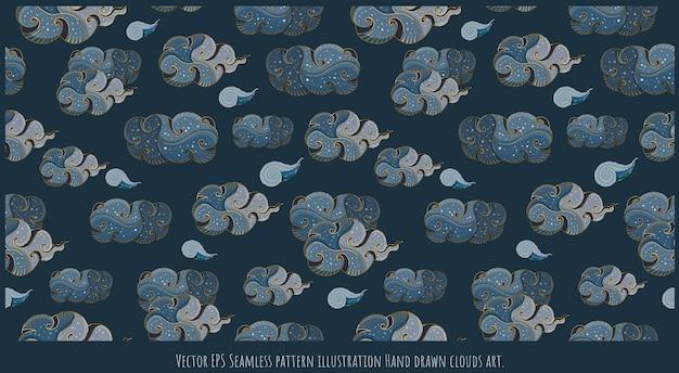 Vektor nahtlose muster-abbildung hand gezeichnete japanische art wolken kunst.