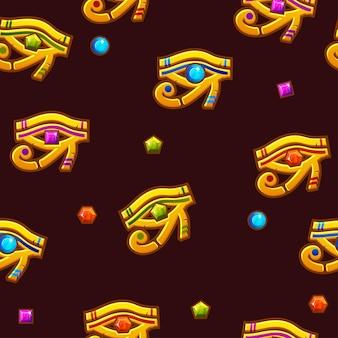 Vektor nahtlose muster ägypten auge des horus mit farbigen edelsteinen, goldene ikone.