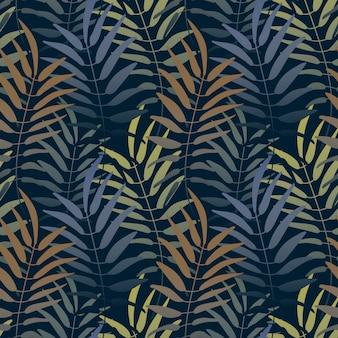 Vektor nahtlose muster bunter hintergrund mit dschungelmotiv. botanischer tropischer backgro
