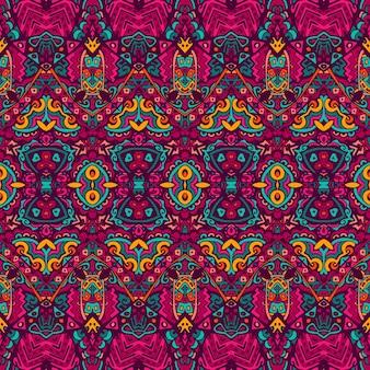 Vektor nahtlose muster ethnischen stammes geometrischen psychedelischen bunten druck