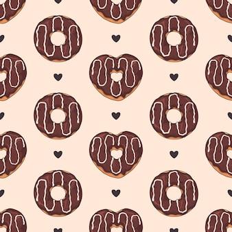 Vektor nahtlose muster. glasierte krapfen mit belag, schokolade und nüssen.