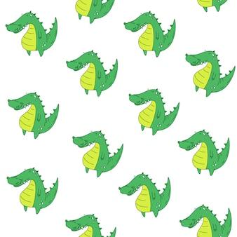 Vektor nahtlose muster krokodil. cartoon-stil