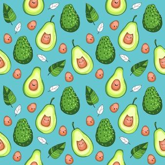 Vektor nahtlose muster mit avocado-frucht auf blauem hintergrund, kawaii-stil