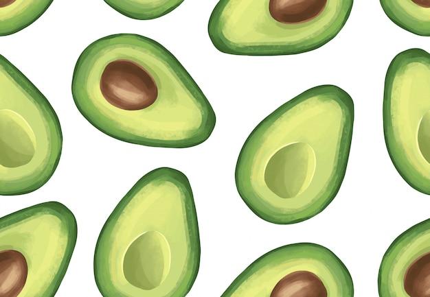 Vektor nahtlose muster mit avocado. tropische exotische früchte.