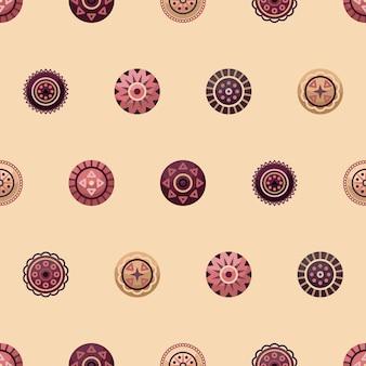 Vektor nahtlose muster mit boho geometrischen runden elementen. flacher stil