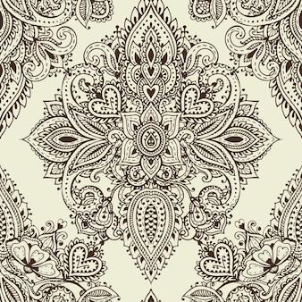 Vektor nahtlose muster mit handgezeichneten henna mehndi floralen elementen. schöner endloser hintergrund im orientalischen indischen stil