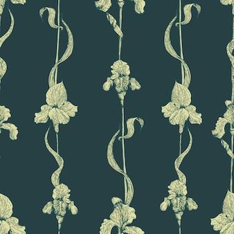 Vektor nahtlose muster mit iris. vintage-stil. hand gezeichnete abbildung.