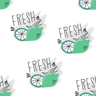 Vektor nahtlose muster mit limetten. von hand gezeichnetes muster der zitrusfrucht. wohnung, doodle-stil