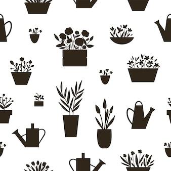 Vektor nahtlose muster mit pflanzen in töpfen und betten mit gießkannen silhouetten. schwarz-weiß-hintergrund mit zimmerpflanzen für hausgartengestaltung. frühlings- und sommerblumentextur