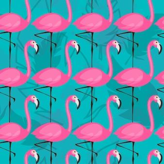 Vektor nahtlose muster mit rosa flamingos auf türkisfarbenem hintergrund tropisches vektormuster