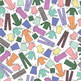 Vektor nahtlose muster von kleidung drucken stoff geschenkpapier muster multicolor
