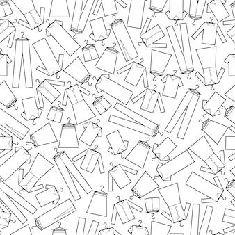 Vektor nahtlose muster von kleidung drucken stoff geschenkpapier muster schwarz und weiß