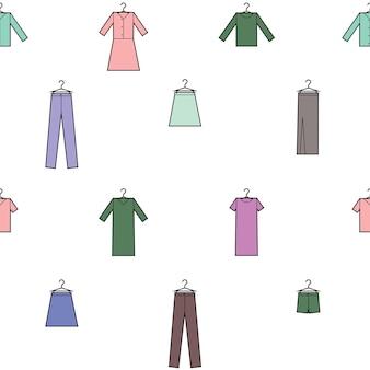 Vektor nahtlose muster von kleidung drucken stoff geschenkpapier muster