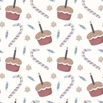 Vektor nahtlose muster. winterkinderthema, süßigkeiten, lustige cartoon-cupcakes mit kerzen, zuckerstangen und verpackte bonbons. der hintergrund eignet sich für dekoration und geschenkpapier.