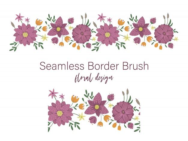 Vektor nahtlose musterbürste mit grünen blättern mit lila blüten mit schilf und seerosen auf weißem raum. blumenrandverzierung. trendy flache illustration