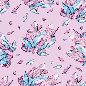 Vektor nahtloser hintergrund von kristall oder diamanten