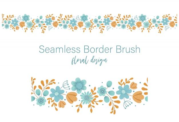 Vektor nahtloser musterpinsel mit grünen blättern mit orange und blauen blumen auf weißem raum. blumenrandverzierung. trendige hand gezeichnete flache illustration