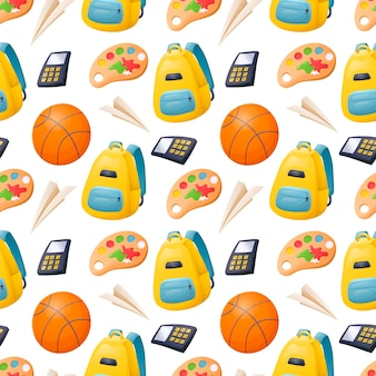 Vektor nahtloses cartoon-muster mit schulmaterial für kinder, einem rucksack und einem basketball.
