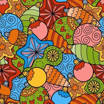 Vektor nahtloses muster der farbe, satz weihnachtsbaumspielzeuge