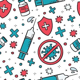 Vektor nahtloses muster der virusimpfstoffspritze zur injektion