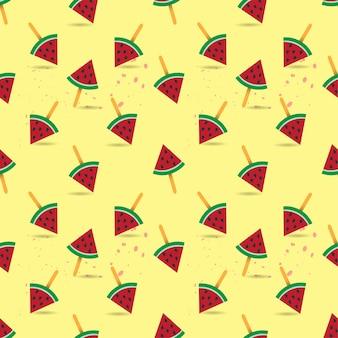 Vektor-nahtloses muster der wassermelone und der ananas