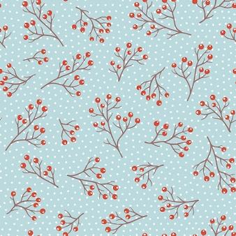 Vektor nahtloses muster für neujahr und weihnachten. nette handgezeichnete illustrationen mit zweigen auf hellblauem hintergrund.