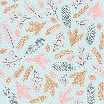 Vektor nahtloses muster für neujahr und weihnachten. nette handgezeichnete illustrationen mit zweigen, zapfen und vielen dekorativen elementen.