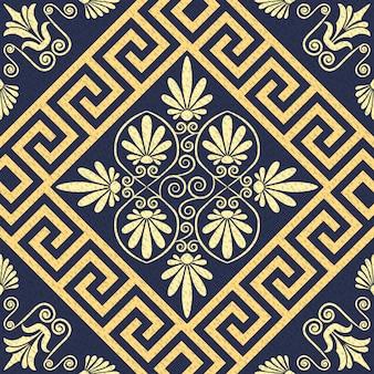 Vektor nahtloses muster gold griechische verzierung (mäander)