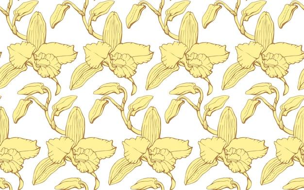 Vektor nahtloses muster mit dendrobium orchideenblüten endlose textur für ihr design