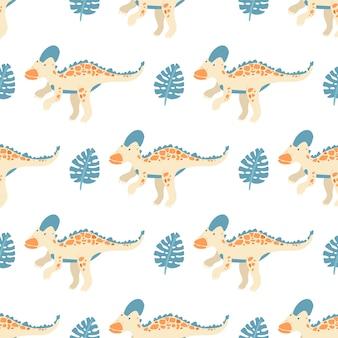 Vektor nahtloses muster mit dinosauriern und blättern von monstera