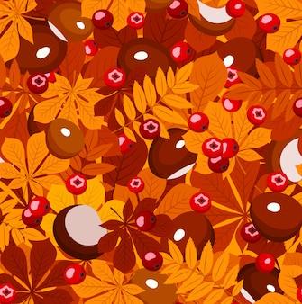 Vektor nahtloses muster mit herbstblättern verschiedener farben kastanien und ebereschenbeeren auf einer orange.