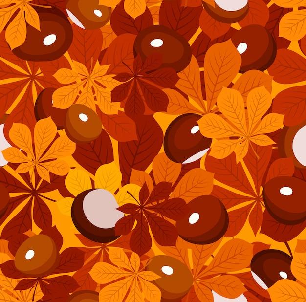 Vektor nahtloses muster mit herbstkastanienblättern verschiedener farben und kastanien auf einer orange.