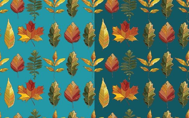 Vektor nahtloses muster mit herbstsatzblättern. hintergrund mit espe; erle; ulme; weide; ahorn; eiche; potentilla.