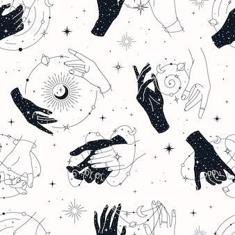 Vektor nahtloses muster mit paar und einzelnen händen, planeten, sternbildern, sonne, monden und sternen.