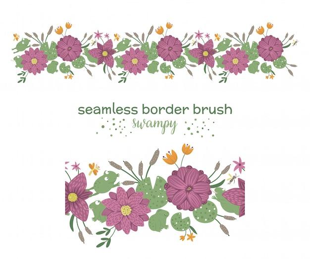Vektor nahtloses muster mit pinselgrünblättern mit lila blüten mit schilf und seerosen auf weißraum. blumenrandverzierung. trendy flache illustration