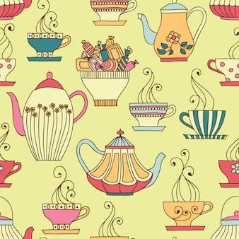Vektor nahtloses muster mit tassen und teekannen.
