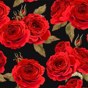 Vektor nahtloses muster mit vintage-rosen auf schwarzem hintergrund