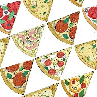 Vektor nahtloses pizzaschnittmuster. hand gezeichnete pizzaillustration. toll für pizzeria menü oder hintergrund.