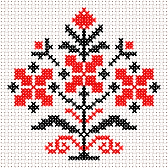 Vektor nationales weißes und rotes weißrussland-blumenornament. slawisches ethnisches muster. stickerei, kreuzstich