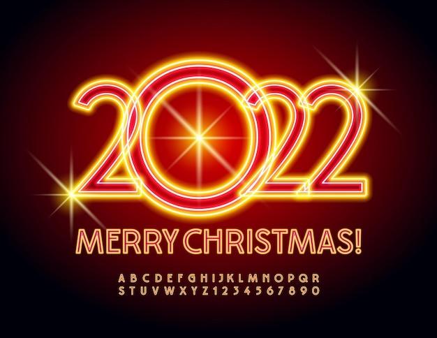 Vektor-neon-grußkarte frohe weihnachten 2022 leuchtende helle alphabet buchstaben und zahlen gesetzt