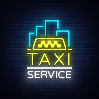 Vektor neon taxi-logo