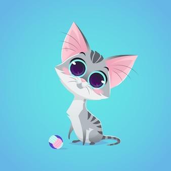 Vektor niedliche katze charakter illustration. cartoon-stil. graue katze mit ballspielzeug. haustier.