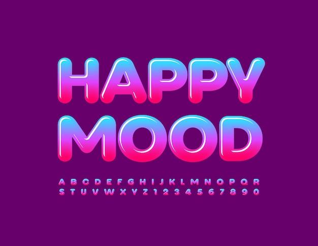 Vektor niedliche vorlage happy mood bunte glänzende schriftart farbverlauf alphabet buchstaben und zahlen gesetzt